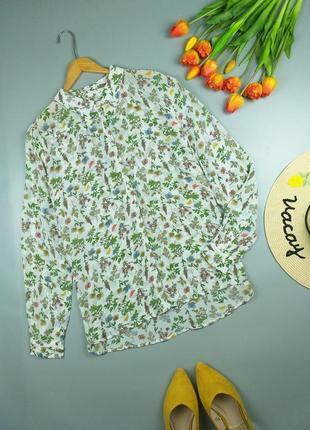 Рубашка цветочная шифоновая 14р.