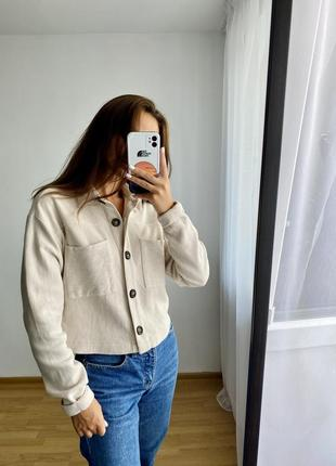 Вельветова сорочка рубашка молочного кольору
