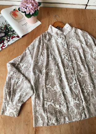 Рубашка/блуза в змеиный принт, свободный фасон