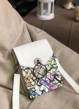 Маленькая сумка кошелёк кроссбоди через плечо с кольцом колечком