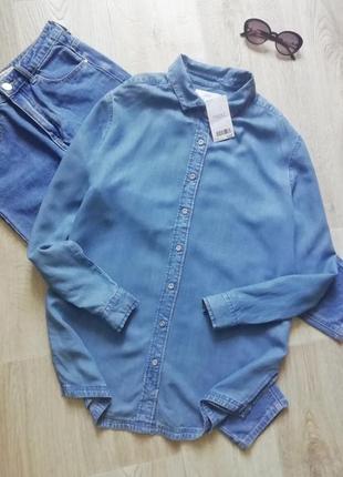 Джинсовая рубашка свободного кроя, сорочка, рубашка оверсайз, рубашка бойфренд, котоновая удлиненная рубашка туника