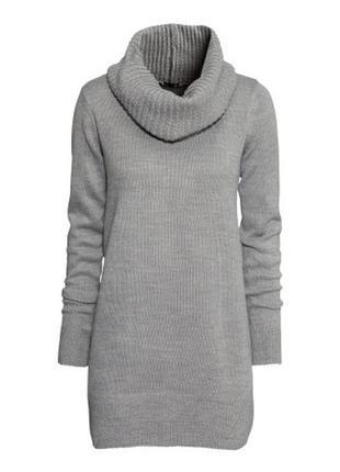 Длинный серый свитер с хомутом h&m, хs