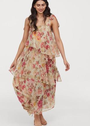 Красивое  длинное платье из ярусов ткани h&m