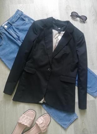 Базовый чёрный пиджак оверсайз, удлиненный пиджак, жакет, удлинённый блейзер, блейзер оверсайз, пиджак бойфренд