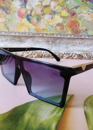 Эксклюзивные брендовые чёрные солнцезащитные женские очки маска 2021
