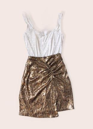 Блестящая юбка с разрезом zara