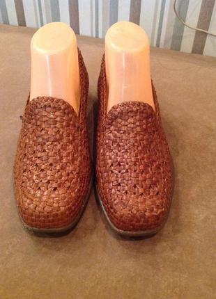 Кожаные, плетенные туфли - лоферы бренда waldlaufer, р. 39,5 (40)
