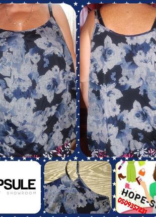 Чёрная в синие цве ты легенькая туника-майка, бельевой стиль-тренд 58/64