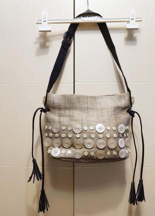 Брендовая летняя сумка с декором пуговицы літня сумка dents 1777