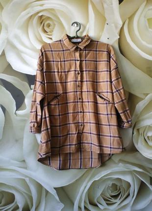 Шикарная рубашка от mango с карманами в клетку
