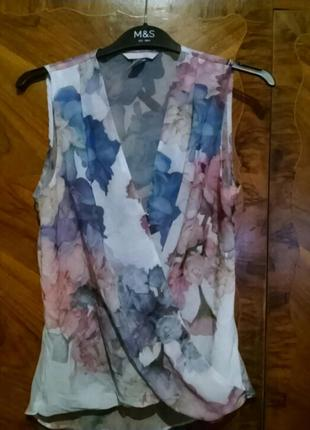 Летняя блуза без рукавов в цветочный принт h&m