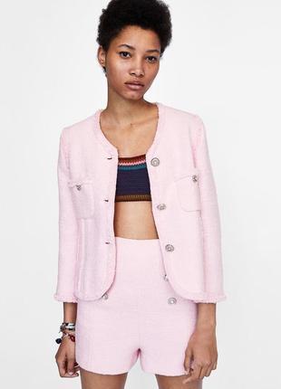 Рожеві твідові шорти