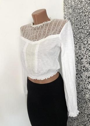 💫белая кофта/блузка  с длинным рукавом miss selfridge