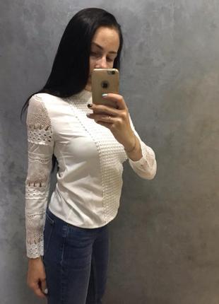 Белая блуза с кружевом7 фото