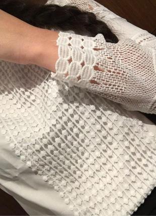 Белая блуза с кружевом9 фото