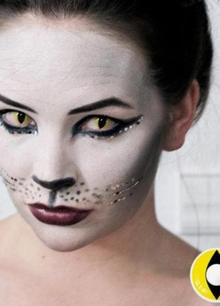 Линзы для глаз, кошачий взгляд, желтые + контейнер для линз в подарок