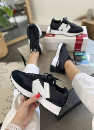 Женские кроссовки new balance 327 black white