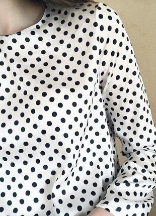 Атласная блуза в горошек zara2 фото