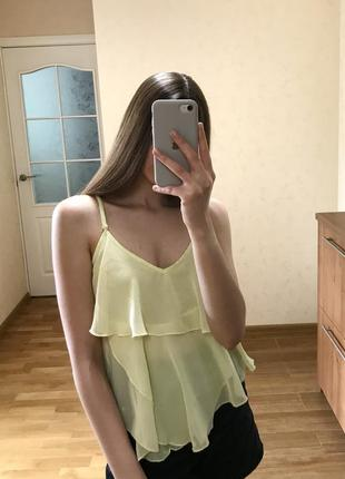Лимонная блуза майка на шлейках