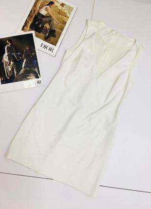 Лаконичное белое платье с кружевом на декольте   1+1=3 на всё 🎁