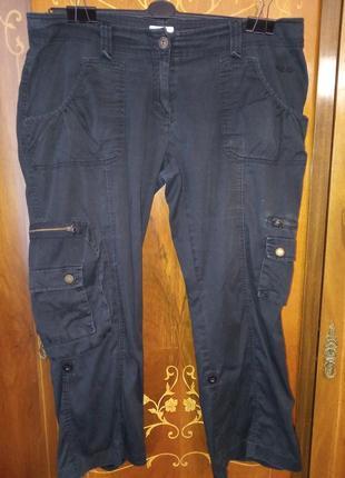 Штаны брюки капри бриджи очень тонкая ткань коттон