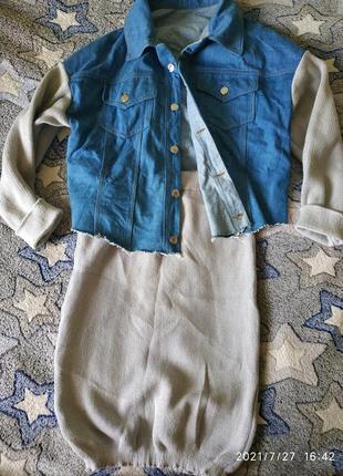 Стильный костюм,джинсовка + юбка,хит сезона, размер м.