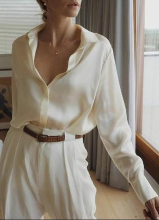 Шикарная классическая молочная шелковая рубашка блуза оверсайз