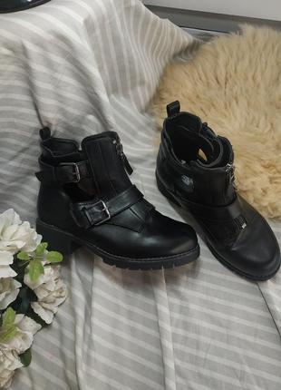 Крутые черные демисезонные ботинки 39р💣🤤