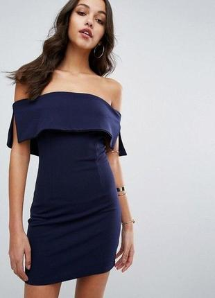 Экстравагантное платье по плечам цвета deep blue от missguided  1+1=3 на всё 🎁