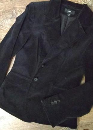 Чёрный вельветовый пиджак h&m