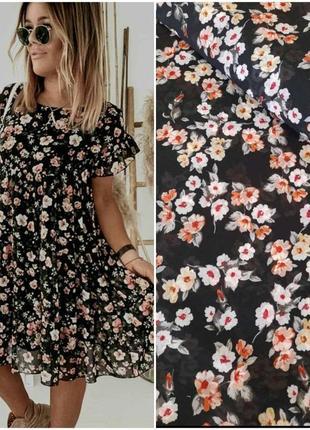 Платье свободного фасона шифон, цветочный принт