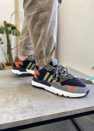 Мужские кроссовки adidas nite jogger black green orange white