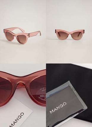 """Солнцезащитные очки манго в пластиковой оправе стиль """"кошачий глаз"""" чехол в подарок"""