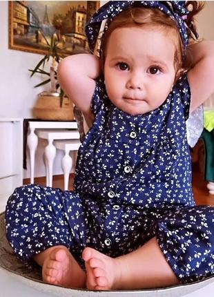 Комплект с повязкой на девочку ,набор ромпер и повязка, набор комбинезон и повязка на голову
