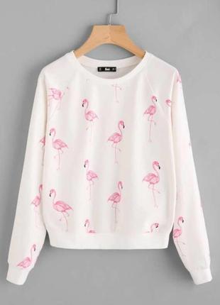Shein. товар привезен из англии. свитшот с принтом розового фламинга.