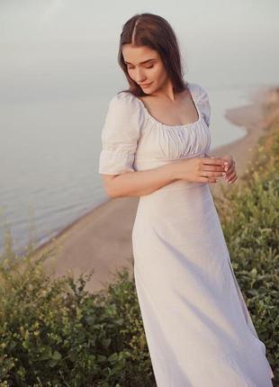 Льняное миди платье