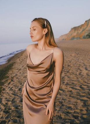 Платье шёлковое миди комбинация