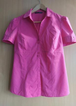 Розовая красивая блузка с коротким рукавом рубашка atmosphere в офис , на праздник