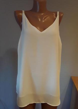 Стильная белая открытая блузка/маечка,батал