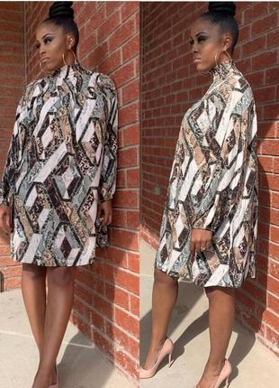 Свободное оверсайз oversize короткое платье со сборкой h&m размер 44,42,34,36