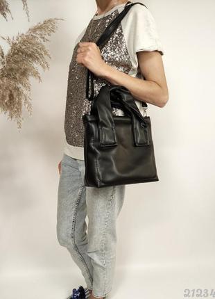 Чорна м'яка сумочка жіноча, женская мягкая сумка черная
