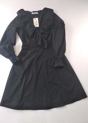 Натуральное хлопковое платье na-kd с длинным рукавом 36 черное (1018-004190)