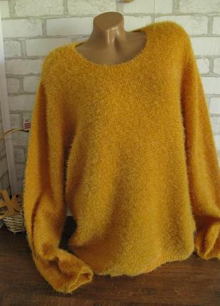 Мягкий пушистый свитер травка  eur 48-50 цвет горчичный