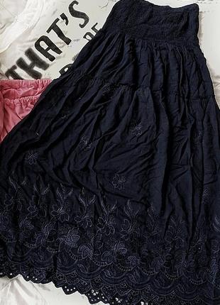 Лёгкая длинная юбка с кружевом