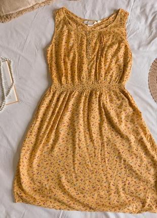 Летнее жёлтое платье в цветочек из натуральной вискозы h&m (размер 40-42)