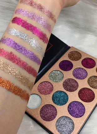 🌈💜палетка теней для век глиттеров beauty glazed pressed glitter 15 extremely tiny glitter eyeshadow palette