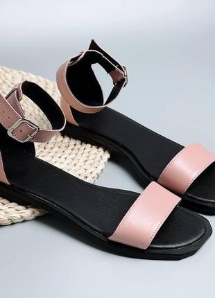Кожаные босоножки розовые стильные