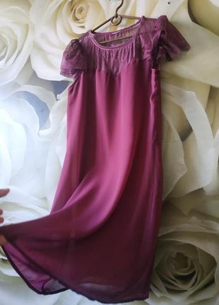 Красивое воздушное платье с ажурными рукавами