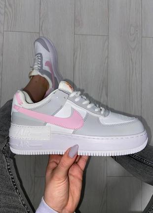 Nike air force shadow pink grey кроссовки найк женские форсы аир форс кеды обувь взуття