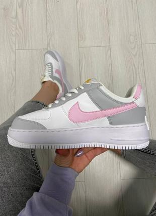 Nike air force shadow pink grey кроссовки найк женские форсы аир форс кеды обувь взуття6 фото